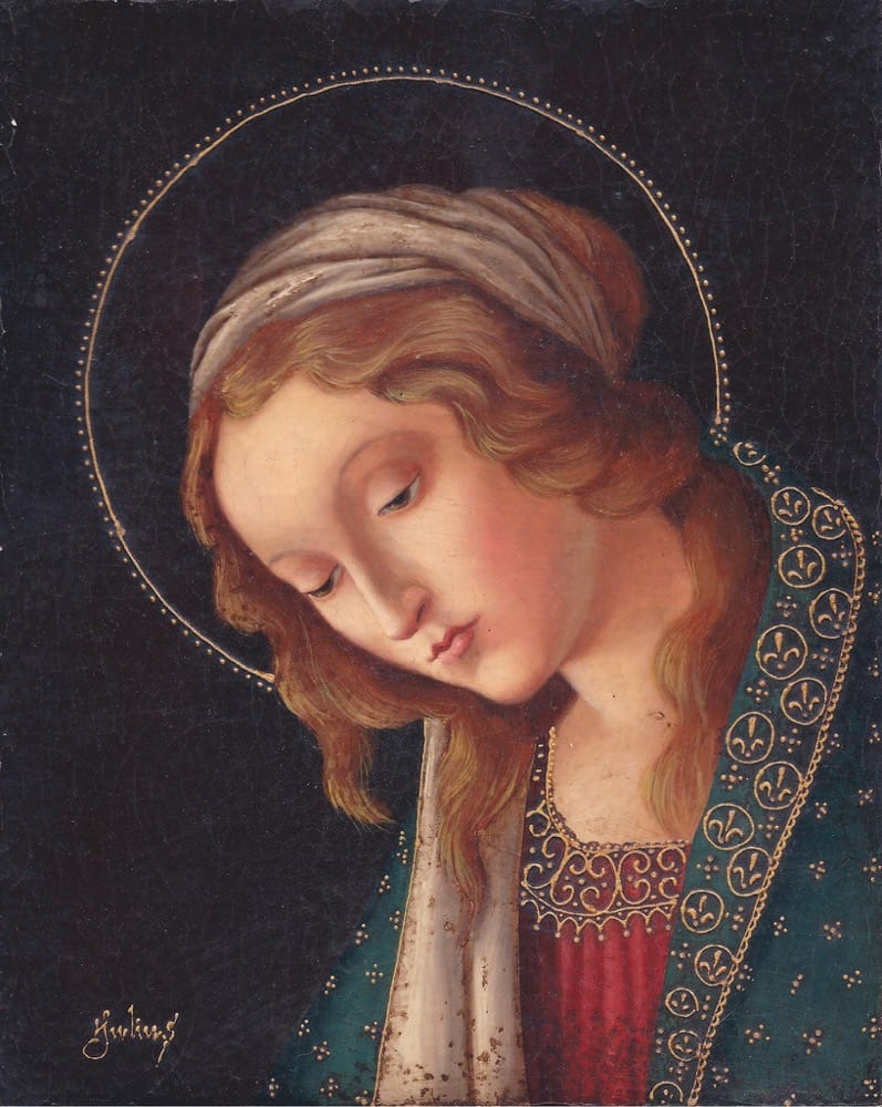 Virgin Mary Original Oil Painting - Mirada Tierna by Julius