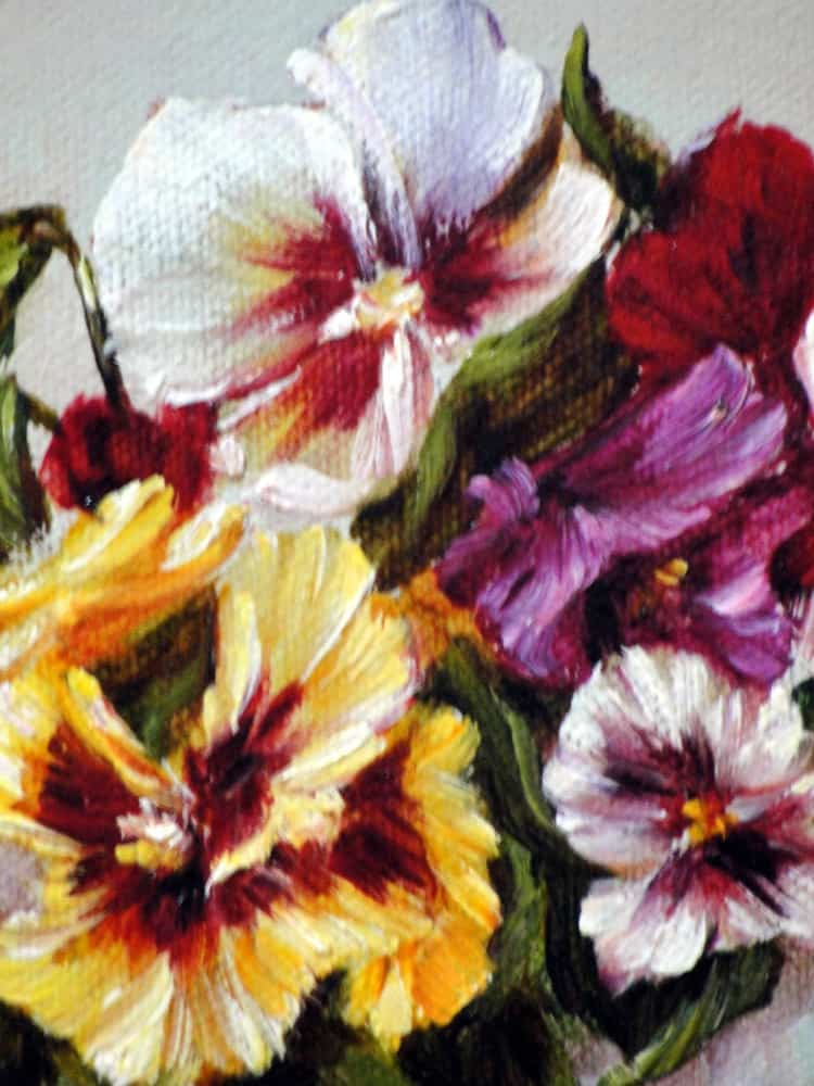 Pansies With a White Vase - by Tejada