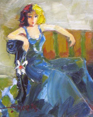 Seated Woman in Blue by Koets