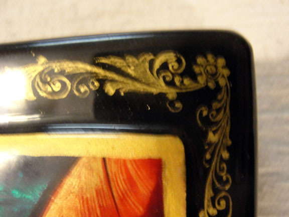 Handmade Lacquer Box, Virgin Mary & Child, Russia
