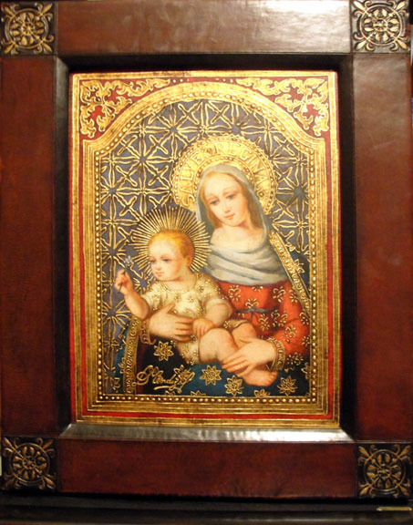 Virgin Mary Original Oil Painting - Madona del Saber by Mendoza