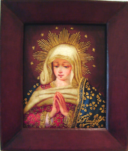 Virgin Mary Original Oil Painting - Virgen Santa by Mendoza