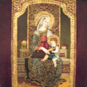 Virgin Mary Original Oil Painting - Madona del Altar Mayor by Mendoza