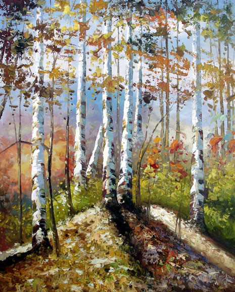 "Birches 2 - Original Oil Painting 20"" x 24"""