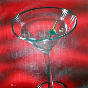 "Red Martini by Tarnine - Original Oil Painting 20"" x 24"""