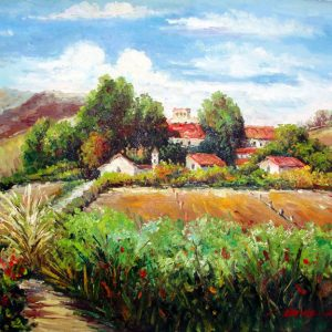 Tuscan Landscape by B. George - Original Oil Painting