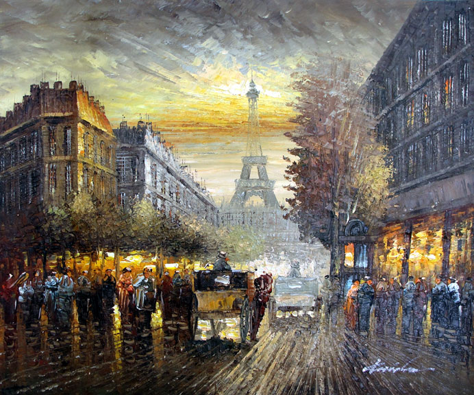 Paris Street Scene 3 by Haidenson - Original Oil Painting