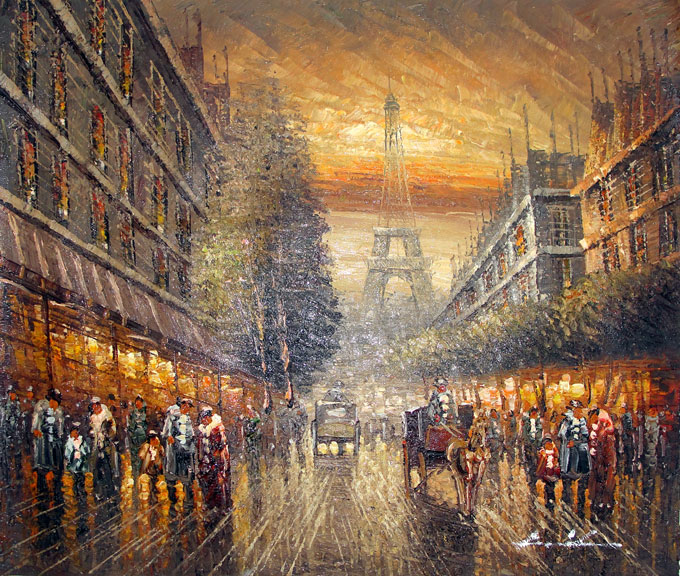 Paris Street Scene 5 by Haidenson - Original Oil Painting