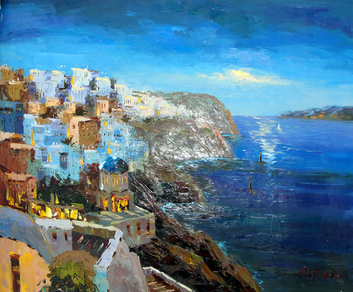 Greek Village by the Sea by Antonio - Original Oil Painting