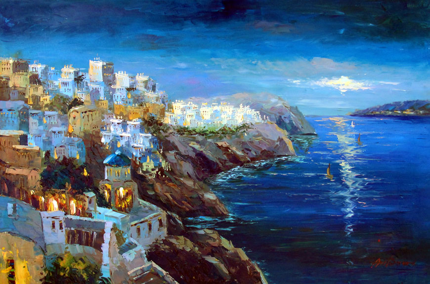 Greek Village by the Sea 4 by Antonio - Original Oil Painting