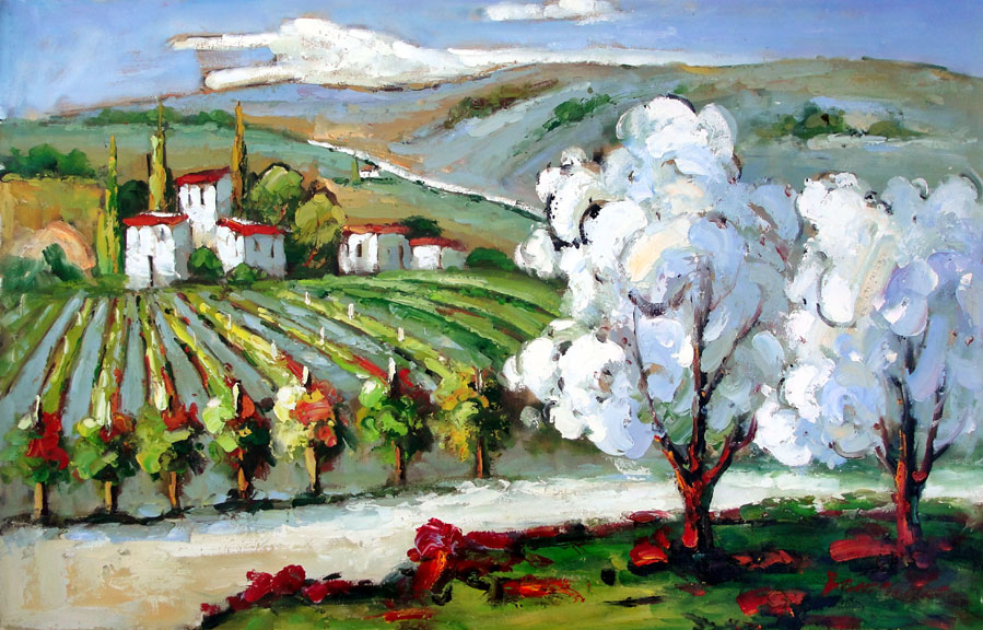 Tuscan Vineyard by Burnett - Original Oil Painting