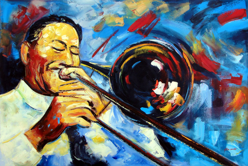 Trombone Player by Alexander - Original Oil Painting