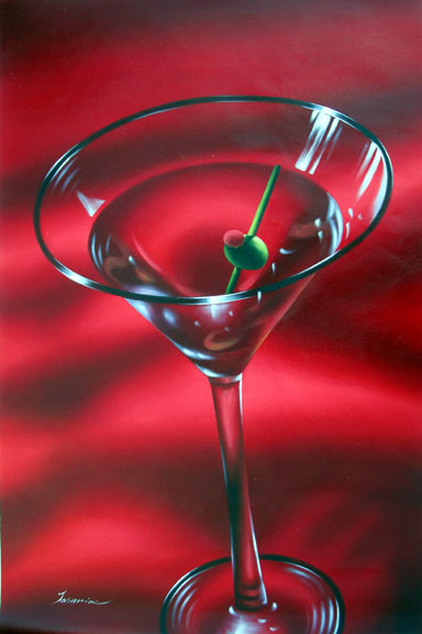 "Red Martini by Tarnine - Original Oil Painting 24"" x 36"""