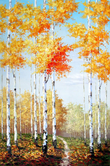 "Birches 1 - Original Oil Painting 24"" x 36"""""