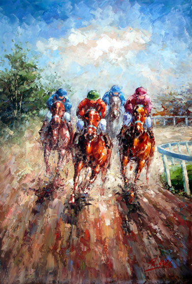 "Horse Races 2 by Rugell - Original Oil Painting 24"" x 36"""""