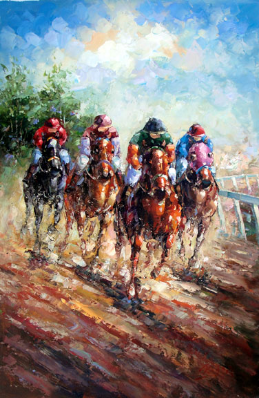 "Horse Races 4 by Rugell - Original Oil Painting 24"" x 36"""""