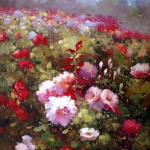 Rose Garden by Graceful - Original Oil Painting