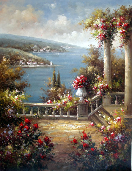 Flowering Terrace on the Lake - Original Oil Painting