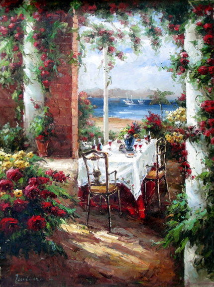 Terrace on the Lake by Zuolounnei - Original Oil Painting