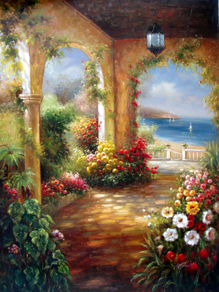 Garden Terrace by the Sea - Original Oil Painting