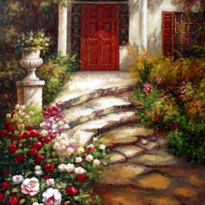 Garden Walkway to the Villa - Original Oil Painting