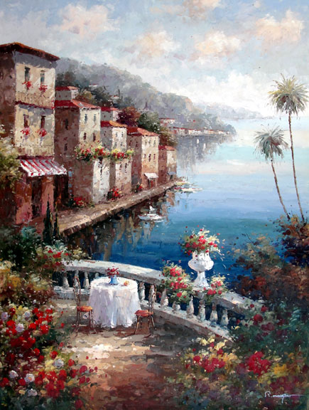 Table on the Seaside Terrace I by Moreyov - Original Oil Painting