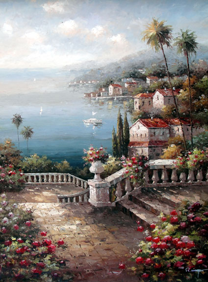 Seaside Terrace by Moreyov - Original Oil Painting