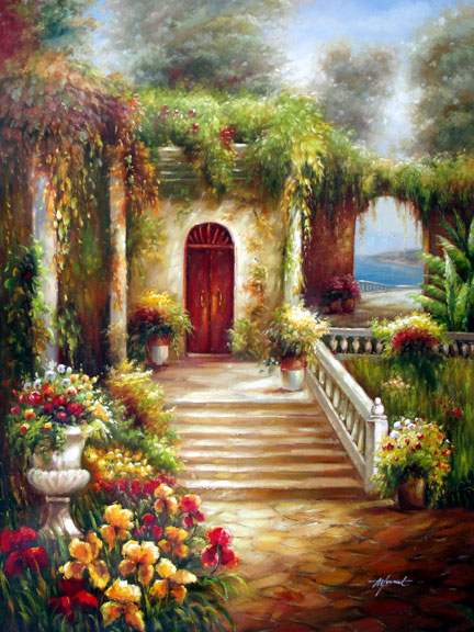 Villa Entrance in Bloom - Original Oil Painting