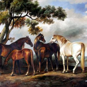 Lakeside Horses - Original Oil Painting