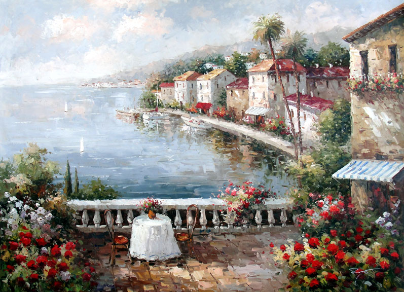 Table on the Seaside Terrace II by Moreyov - Original Oil Painting