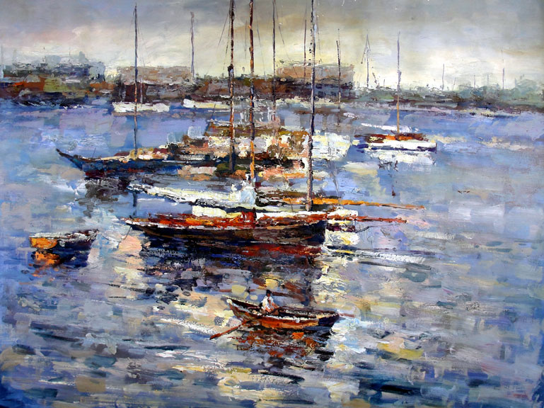 Boats in the Bay - Original Oil Painting