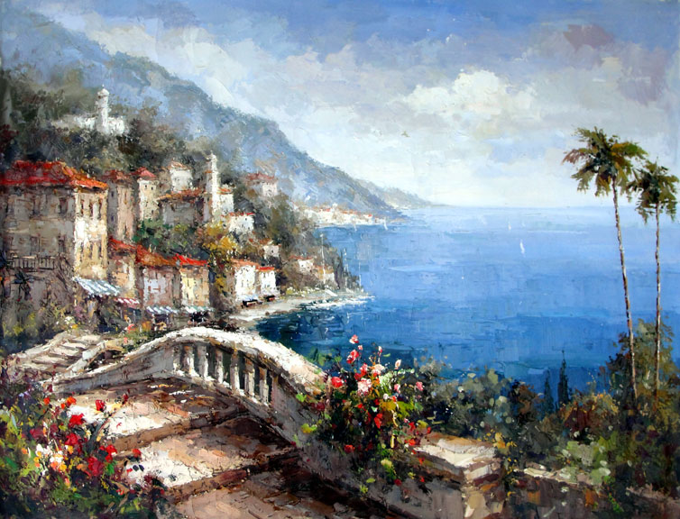 Italian Village on the Lake - Original Oil Painting