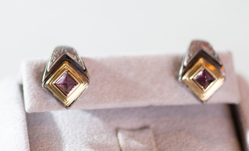 Pink Tourmaline Post Earrings by Konstantino