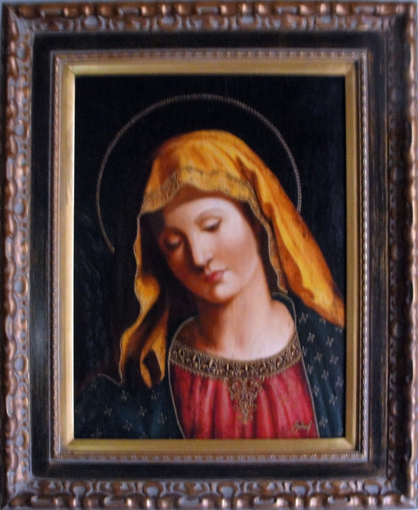 Virgin Mary Original Oil Painting - Madona by Julius